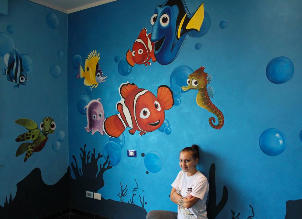 """Cameretta """"Alla Ricerca di Nemo"""": Camera da letto in stile in stile Moderno di Alessandra Pagliuca / Visual Artist"""