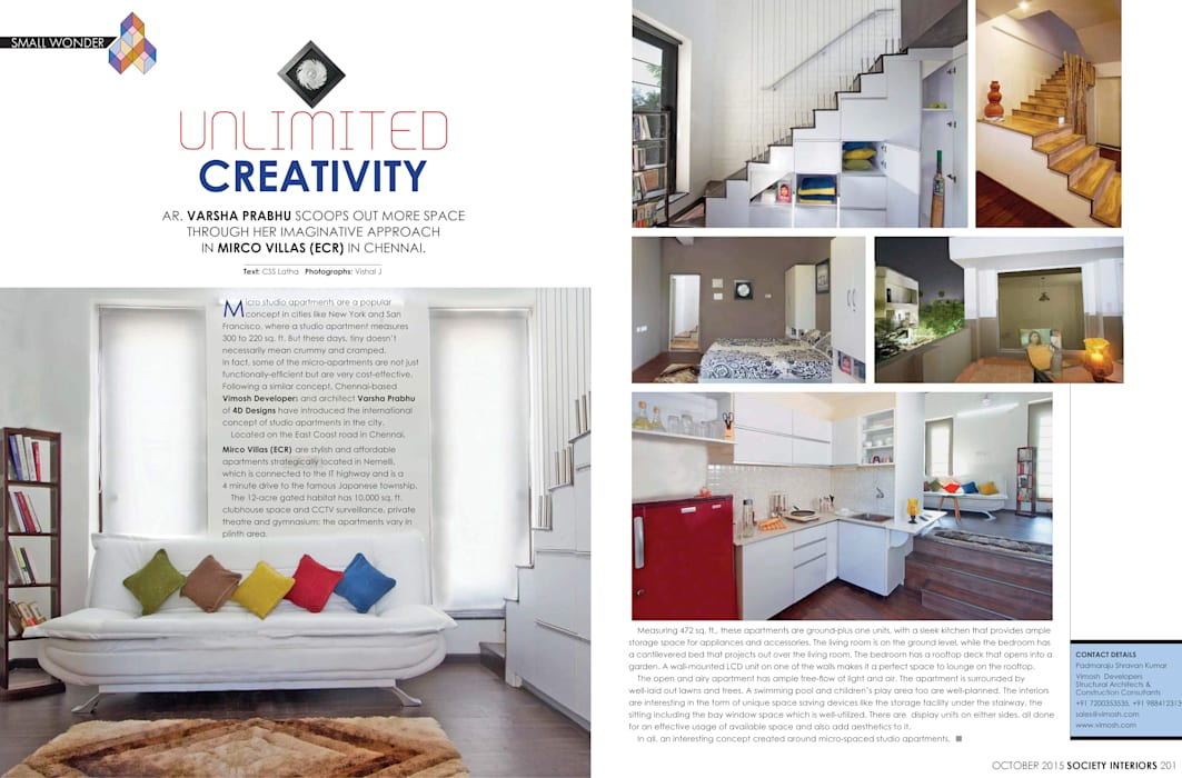 Featured on Society Interiors, October, 2015: minimalistic Houses by Urban Shaastra