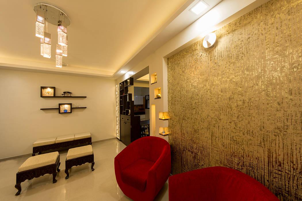 Wall Highlight with Wallpaper Modern walls & floors by Navmiti Designs Modern