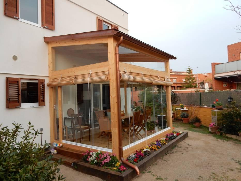 Cerramiento terraza Casas de estilo moderno de Lignea Construcció Sostenible Moderno