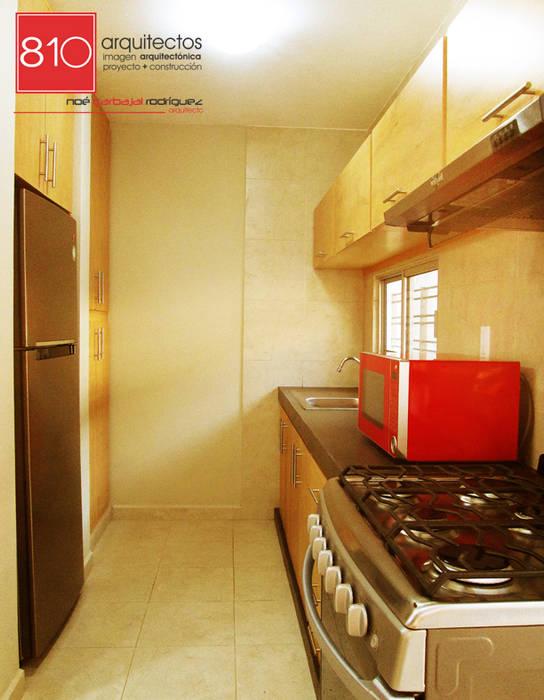 Casa Habitación. Amézquita Córdova: Cocinas de estilo moderno por 810 Arquitectos
