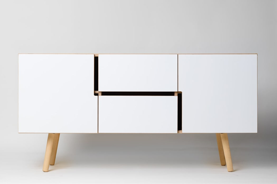 Minimalistisches sideboard in weiß für esszimmer oder wohnzimmer ...