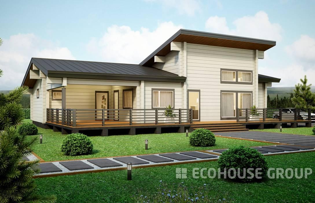 Casas de estilo escandinavo de EcoHouse Group Escandinavo Madera Acabado en madera