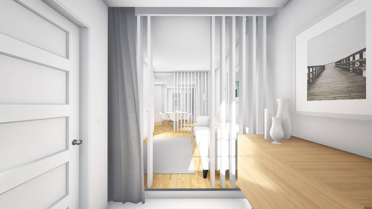 Hall de entrada - Revisão de projecto Salas de estar modernas por Arq. Duarte Carvalho Moderno