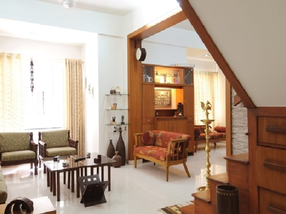Wood, Wood and Lots Of Wood .....:  Living room by Nishtha interior