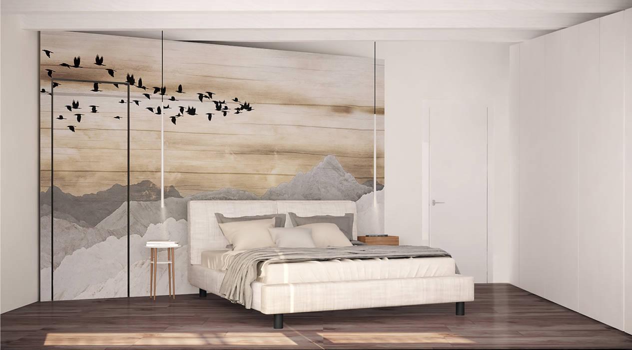 Visualizzazione 3D - camera da letto: Camera da letto in stile in stile Minimalista di Silvana Barbato, StudioAtelier