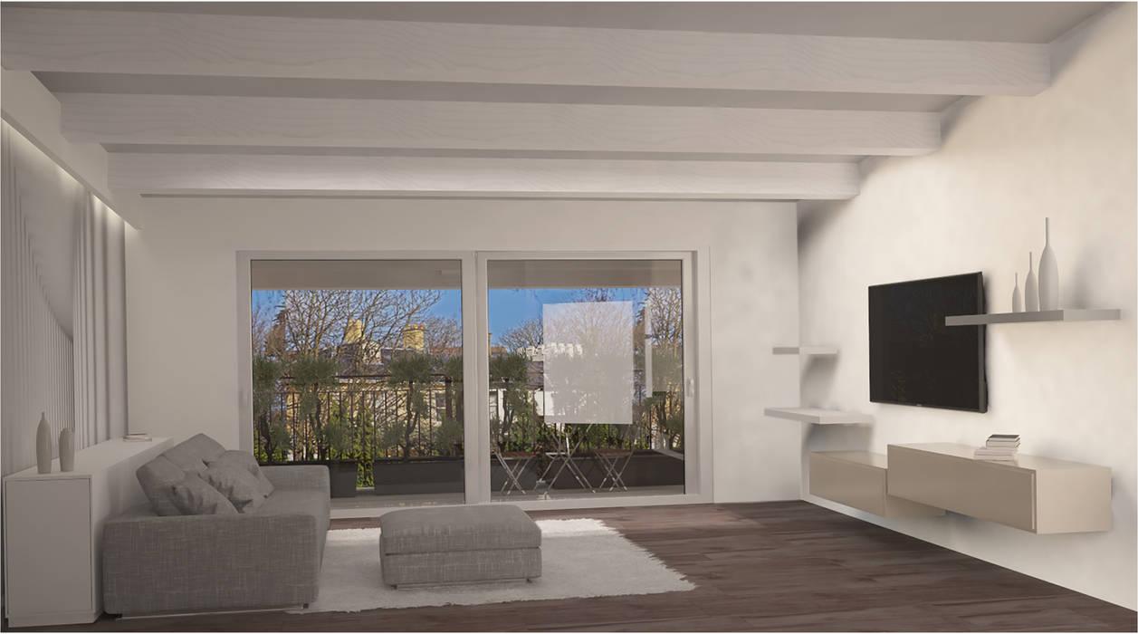 Visualizzazione 3D - soggiorno: Soggiorno in stile in stile Minimalista di Silvana Barbato, StudioAtelier