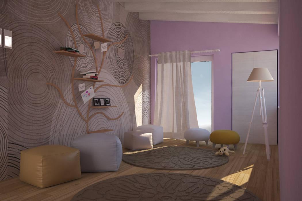 Visualizzazione 3D - camera bimba: Stanza dei bambini in stile in stile Moderno di Silvana Barbato, StudioAtelier