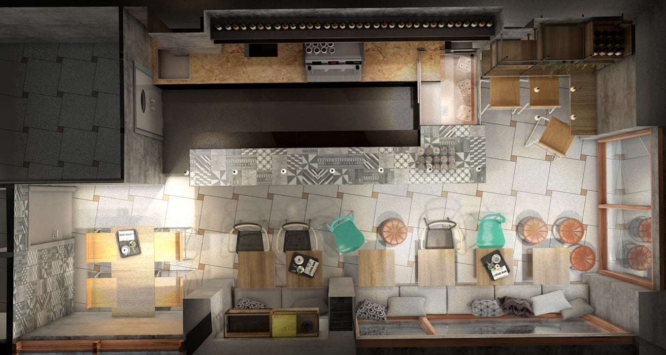 Arredi Bar Moderni visualizzazione 3d – vista dall'alto layout e arredi bar