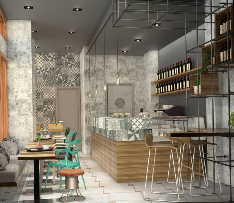 Visualizzazione 3D - dall'ingresso: Bar & Club in stile  di Silvana Barbato, StudioAtelier