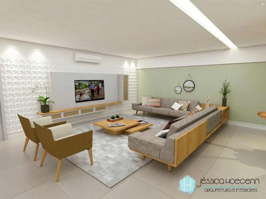 Sala de TV Salas multimídia tropicais por Arquiteta Jéssica Hoegenn - Arquitetura de Interiores Tropical