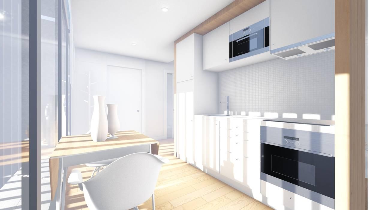 Interior - Apartamento tipo - Cozinha: Cozinhas  por Arq. Duarte Carvalho