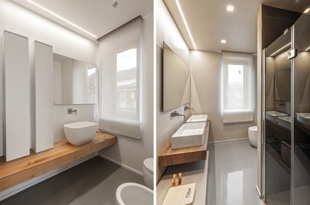 MCArc Casa GC Ristrutturazione con  Interior design e riqualificazione energetica: Bagno in stile in stile Moderno di MCArc Laboratorio di architettura sostenibile