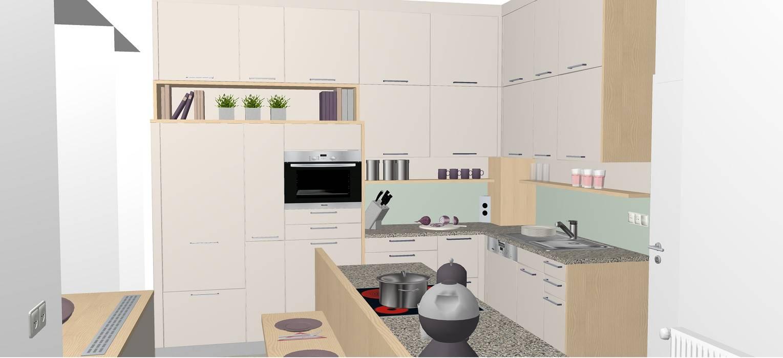 kleine küchenlösung mit frühstücksplatz und viel stauraum: moderne