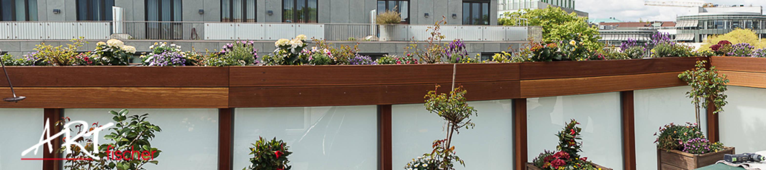 ARTfischer Die Möbelmanufaktur. Balkon, Beranda & Teras Modern Kayu