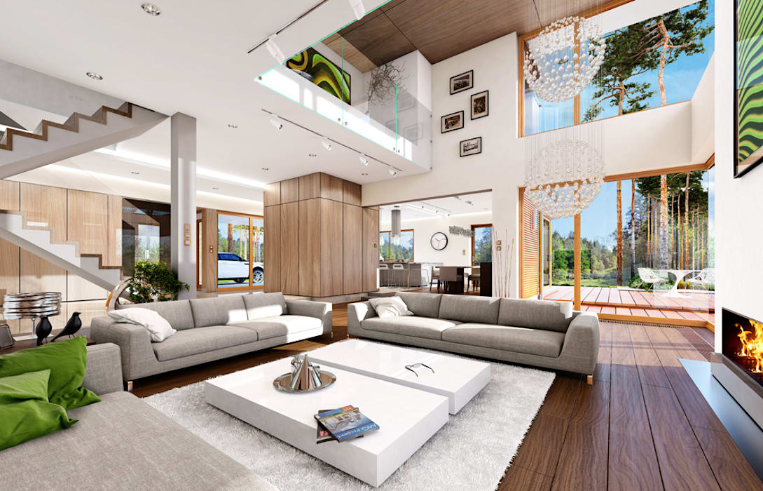 Dom z widokiem MG Projekt Projekty Domów Nowoczesny salon