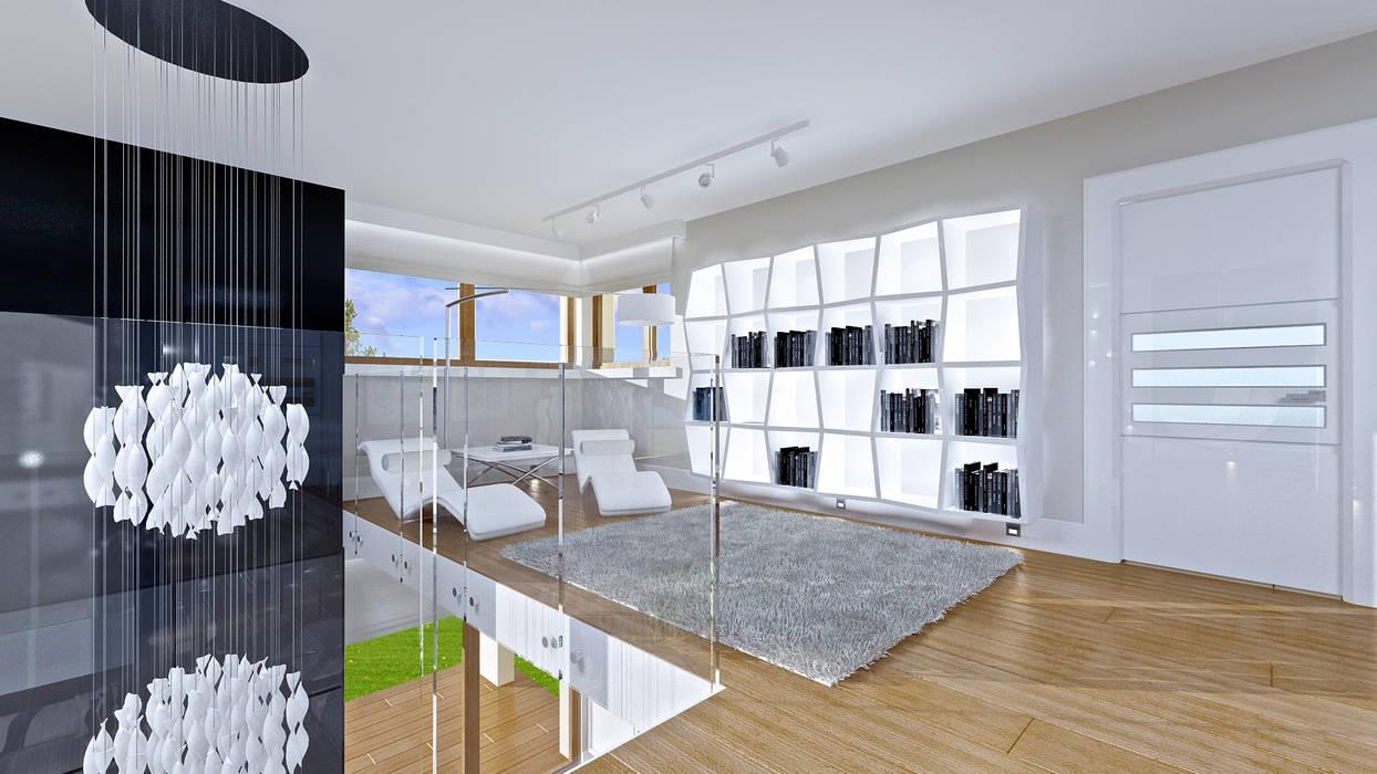 Dom z widokiem Balkon, Beranda & Teras Modern Oleh MG Projekt Projekty Domów Modern