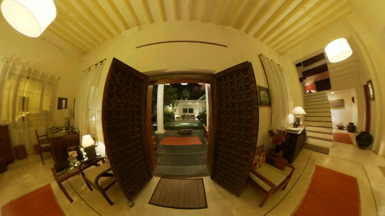 LIVING ROOM: colonial Living room by Karpita Virtual Reality Studio