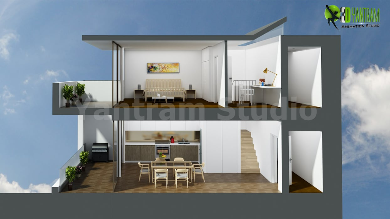 3D Section View Floor Plan by Yantram Architectural Design Studio