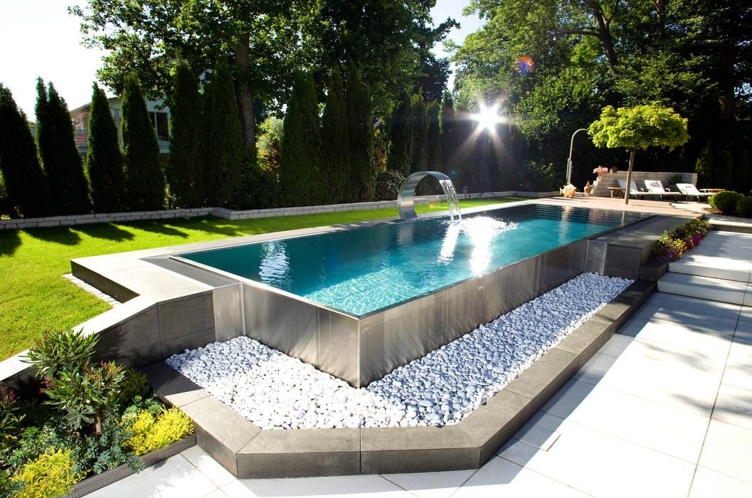 Berndorf Bäderbau Stainless Steel Private Pool (Bavaria, Germany) Modern pool by London Swimming Pool Company Modern