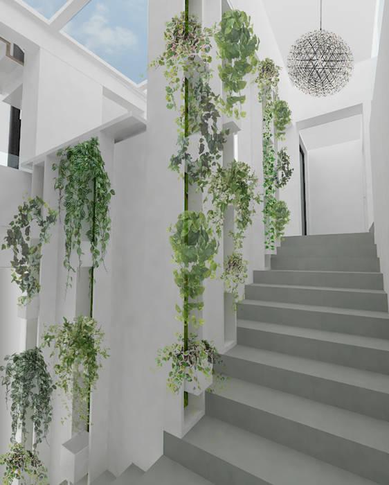 Hall d'entrée + escalier végétalisé: Couloir et hall d'entrée de style  par Yeme + Saunier