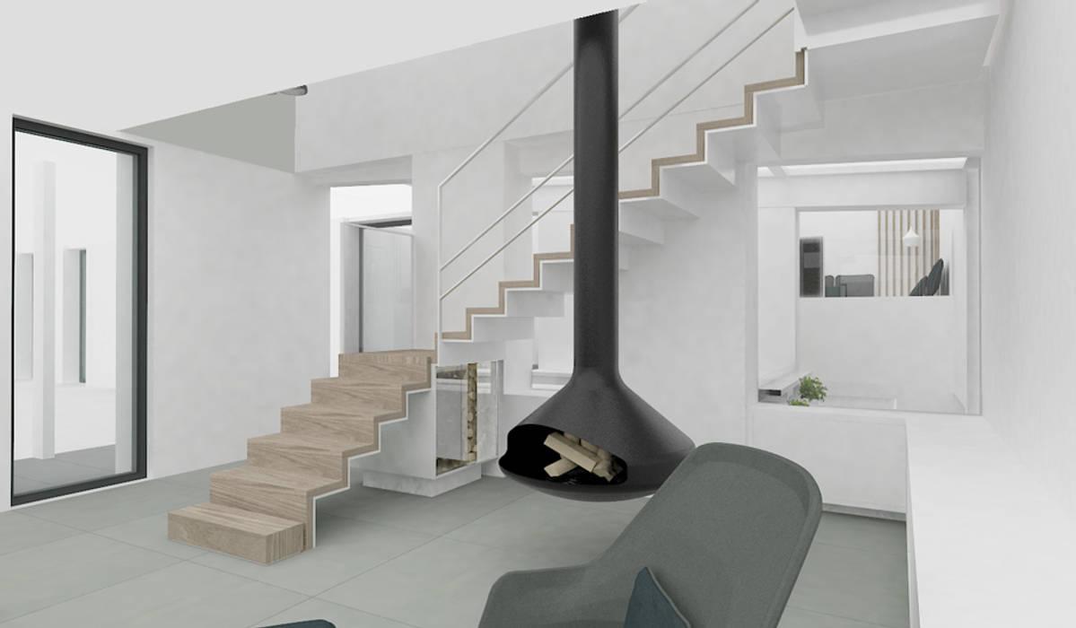 Escalier sur salon + Rangement buches intégré + Cheminée suspendue  : Couloir et hall d'entrée de style  par Yeme + Saunier