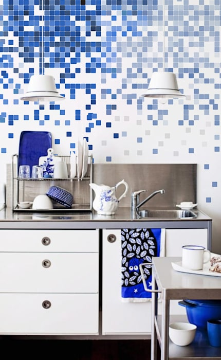 Blue squares Modern kitchen by Pixers Modern