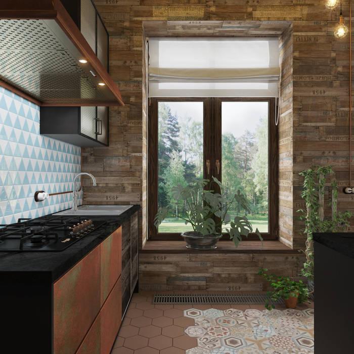 3D GROUP Cocinas de estilo industrial Cobre/Bronce/Latón Marrón