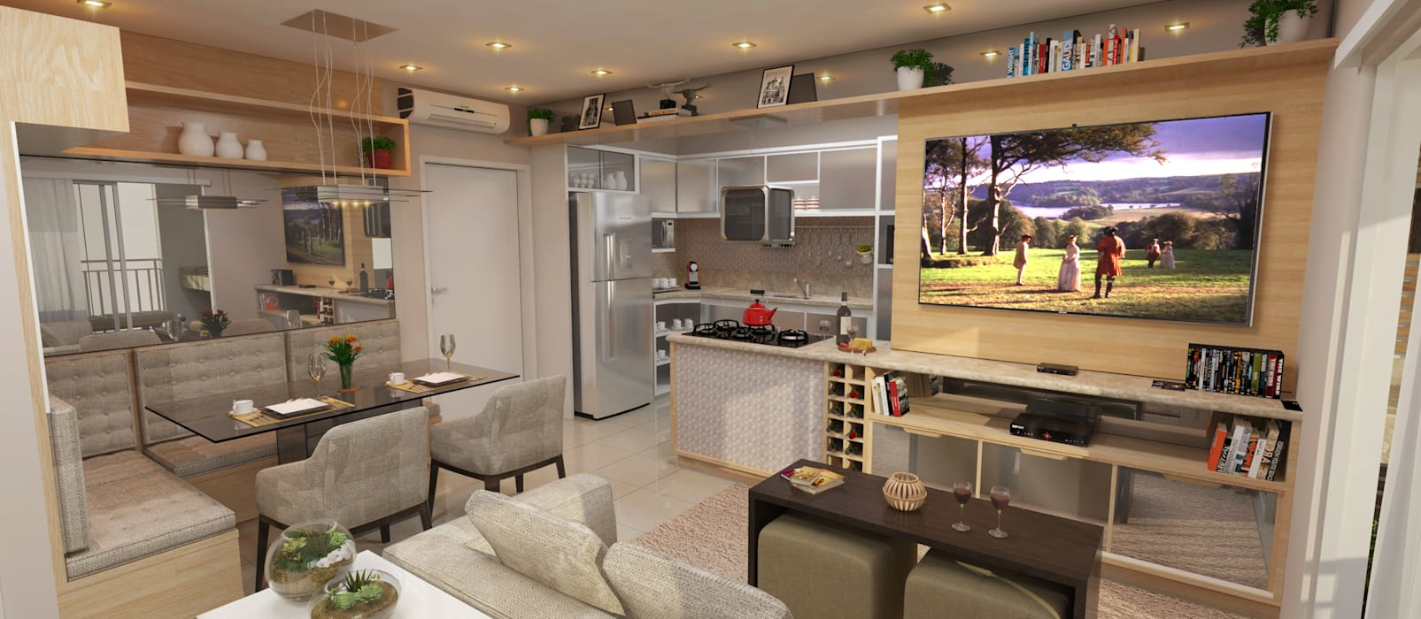 Sotto Mayor Arquitetura e Urbanismo Modern living room Wood-Plastic Composite Beige