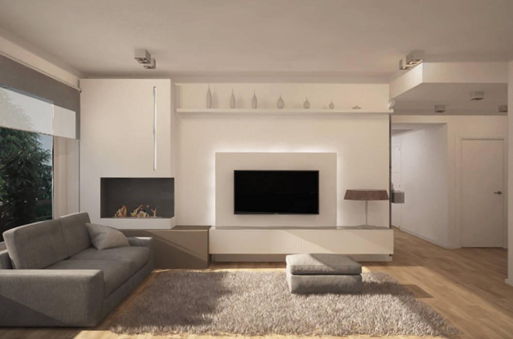 Salotto, parete attrezzata - proposta 1: Soggiorno in stile in stile Moderno di Silvana Barbato, StudioAtelier