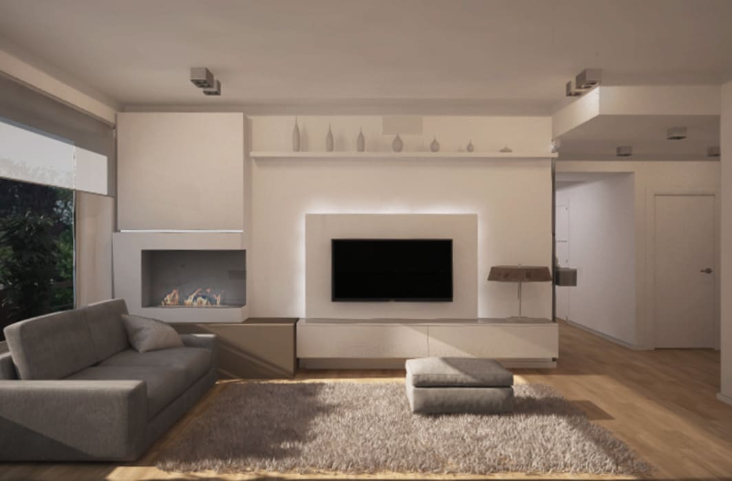Salotto, parete attrezzata - proposta 2: Ingresso & Corridoio in stile  di Silvana Barbato, StudioAtelier