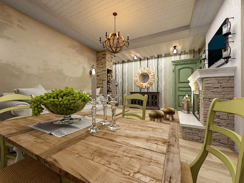 Dstudio.M Country style dining room Wood Green