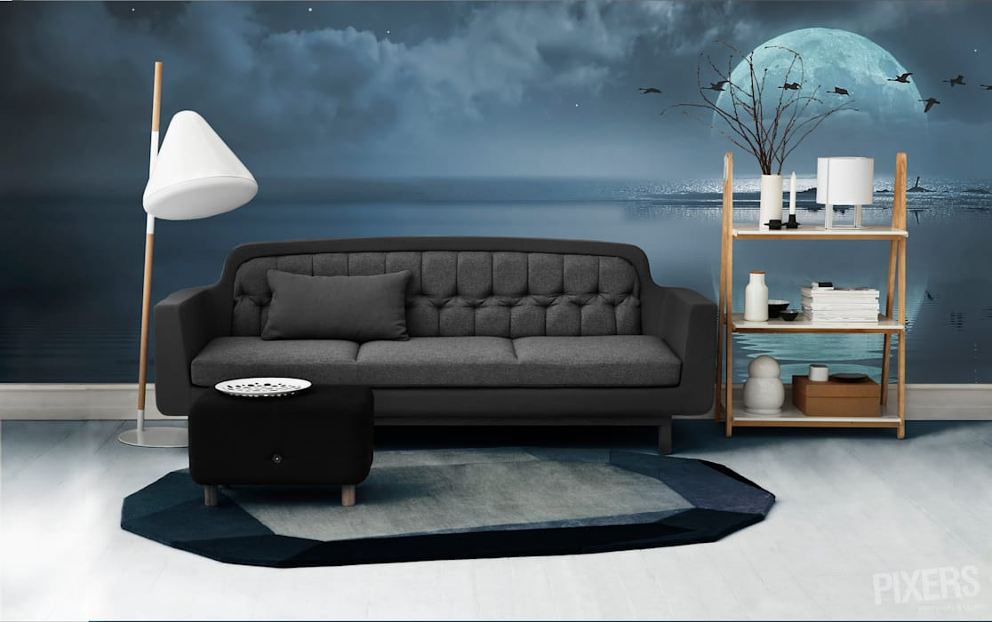 Full moon over the ocean Pixers Modern living room