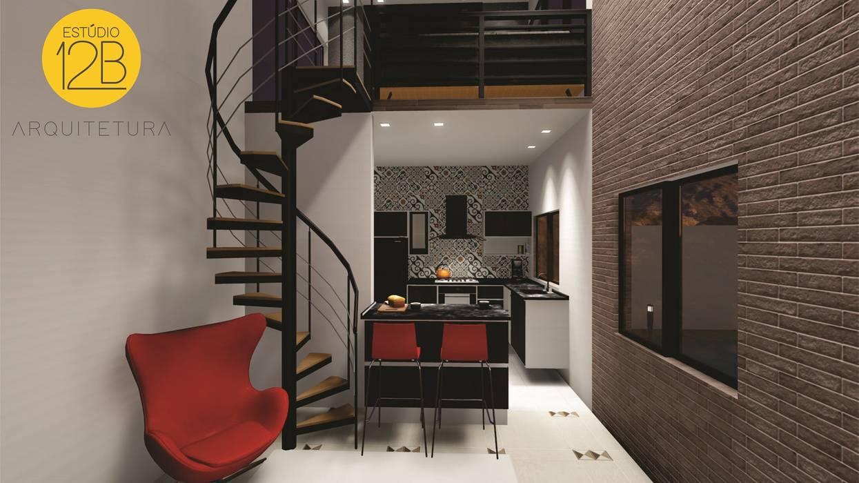 Vista para sala com mezanino Estúdio 12b Salas de estar modernas