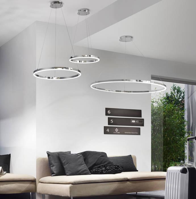 Ring M / LED-Hängeleuchte Ø 60 cm / Chrom:  Wohnzimmer von Licht-Design Skapetze GmbH & Co. KG