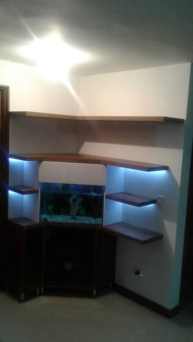 biblioteca - acuario Pasillos, vestíbulos y escaleras de estilo moderno de Modulo Moderno Madera Acabado en madera
