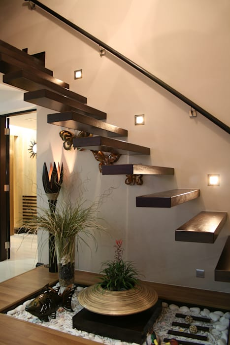 Tropical style corridor, hallway & stairs by Design Spirits Tropical