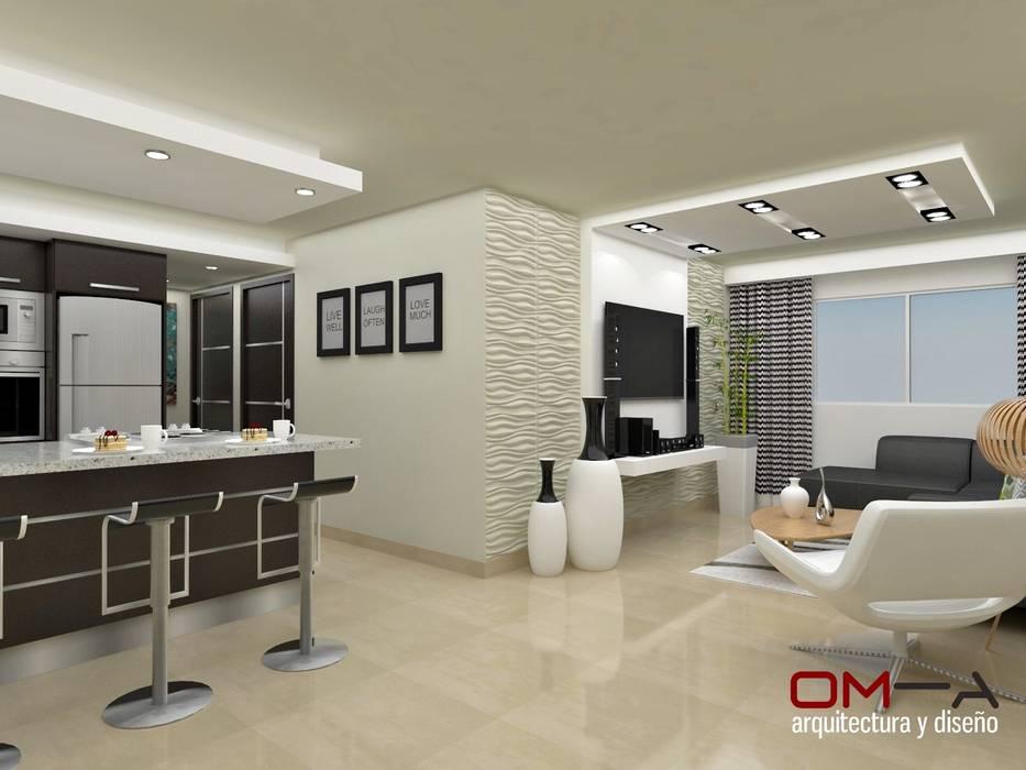 Diseño interior en apartamento, espacio sala-cocina: Cocinas de estilo  por om-a arquitectura y diseño,