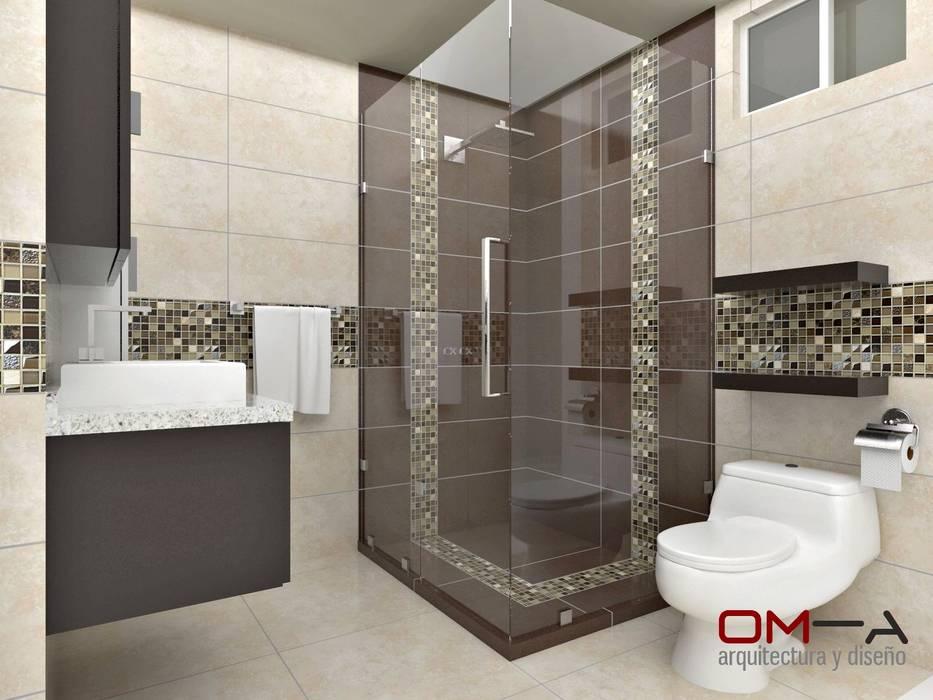 Diseño interior en apartamento, espacio baño principal Baños de estilo moderno de om-a arquitectura y diseño Moderno
