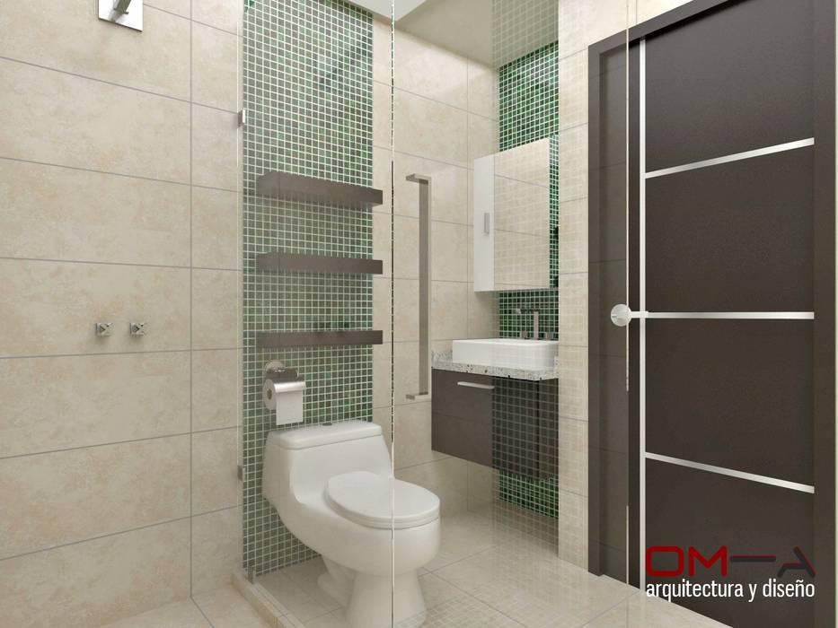 Diseño interior en apartamento, espacio baño secundario: Baños de estilo  por om-a arquitectura y diseño,