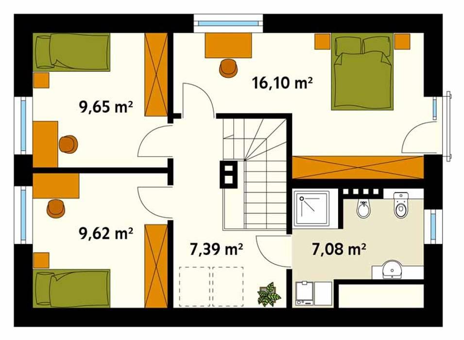 Rzut poddasza projektu domu Malinowy: styl , w kategorii Ściany zaprojektowany przez Biuro Projektów MTM Styl - domywstylu.pl