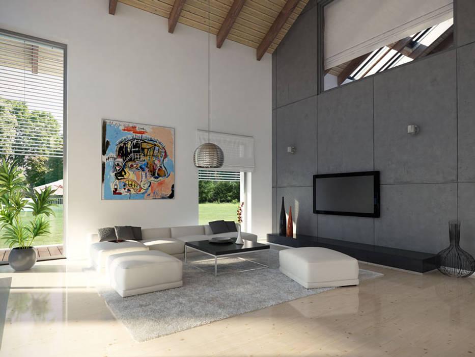 Wnętrze projektu domu Onyks: styl , w kategorii Salon zaprojektowany przez Biuro Projektów MTM Styl - domywstylu.pl,Nowoczesny