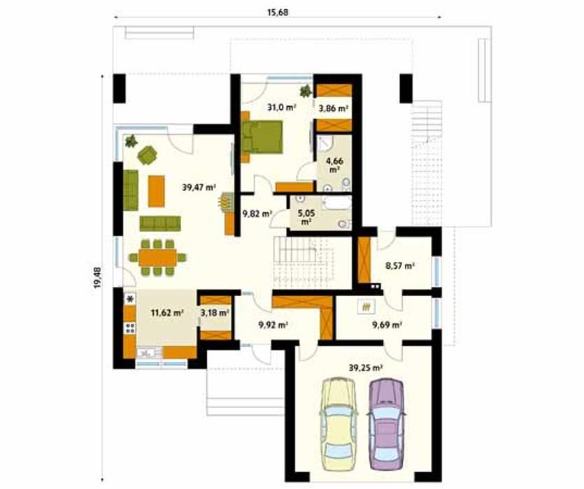 Rzut parteru projektu domu Asteria: styl , w kategorii Ściany zaprojektowany przez Biuro Projektów MTM Styl - domywstylu.pl,