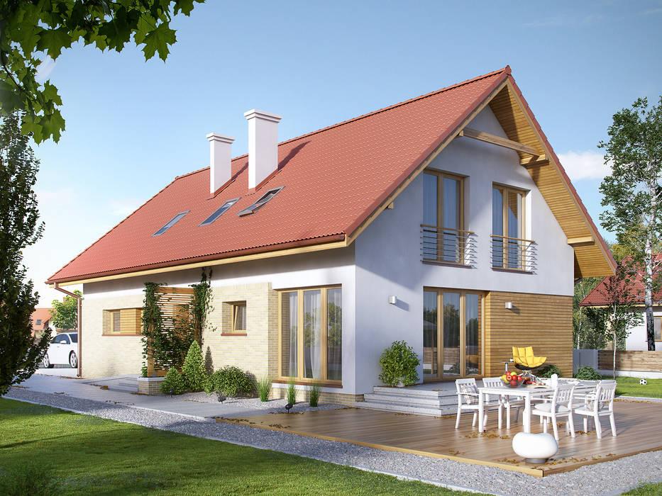 Wizualizacja projektu domu Amarylis 2: styl , w kategorii Domy zaprojektowany przez Biuro Projektów MTM Styl - domywstylu.pl,Nowoczesny