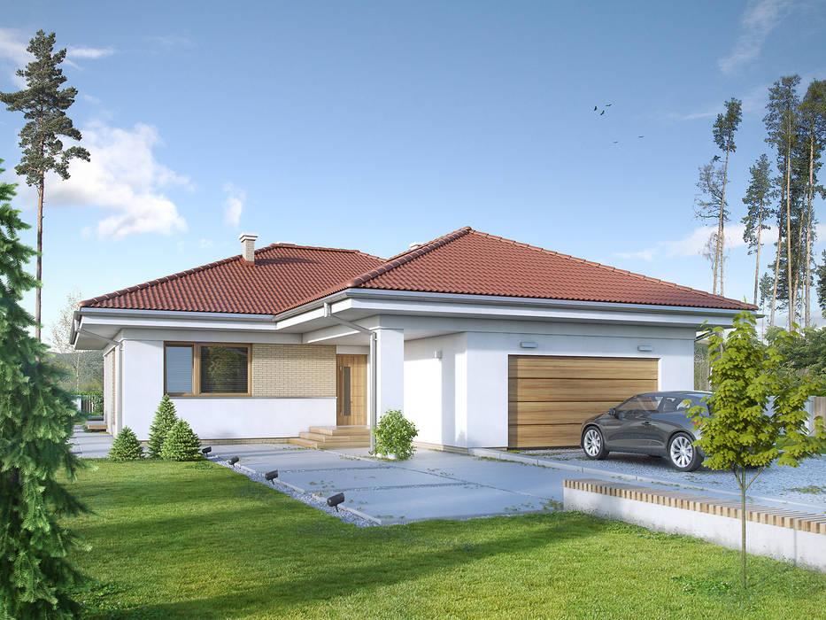 Wizualizacja projektu domu Kiwi 3 Nowoczesne domy od Biuro Projektów MTM Styl - domywstylu.pl Nowoczesny