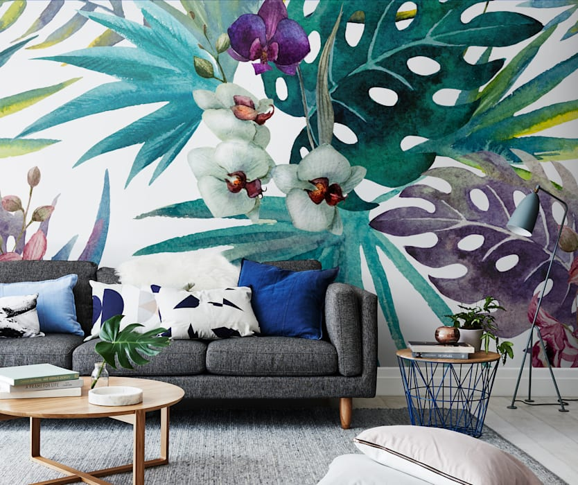 Botany in living room Salas de estilo tropical de Pixers Tropical