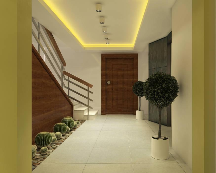 ŞEKİP UYAL APARTMANI GİRİŞ TASARIMI Modern Koridor, Hol & Merdivenler Ofis 352 Mimarlık Hizmetleri Modern
