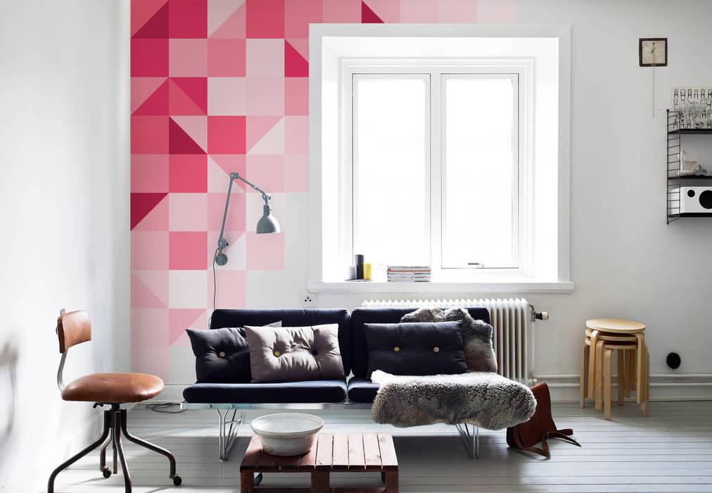 Geometric pink Modern Living Room by Pixers Modern