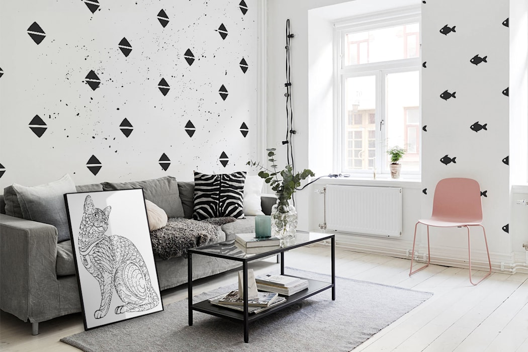 Black&white Triangles Modern living room by Pixers Modern