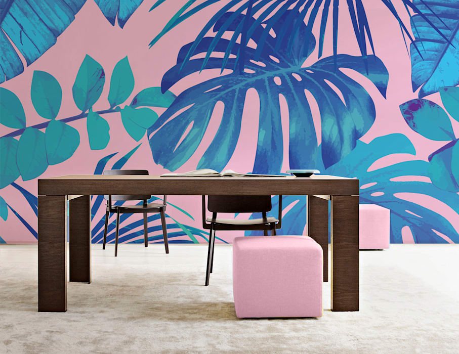 Tropical Leaves Pixers Modern dining room Multicolored